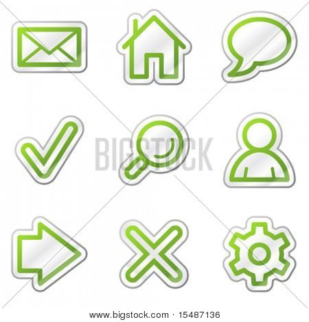 Basic web icons, green contour sticker series