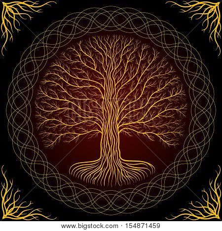 Druidic Yggdrasil Tree Round Dark Gothic Logo Ancient Book Style