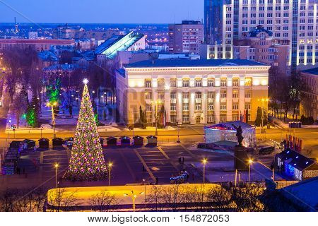 View to Voronezh center from the roof, Lenin square, Christmas tree, winter, new year eve, memorial of Lenin, library named Nikitin