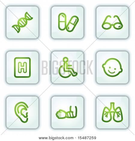 Medicine web icons set 2, white square buttons series