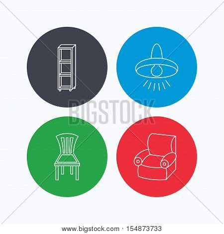Chair, ceiling lamp and armchair icons. Shelving linear sign. Linear icons on colored buttons. Flat web symbols. Vector