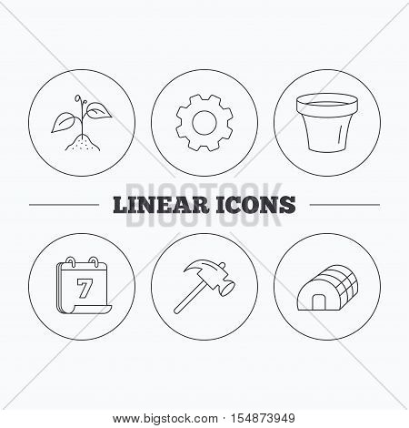 Sprout plant, hammer and pot icons. Hothouse linear sign. Flat cogwheel and calendar symbols. Linear icons in circle buttons. Vector