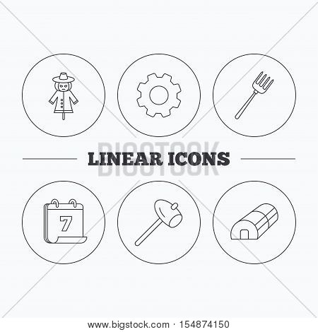 Hammer, hothouse and scarecrow icons. Pitchfork linear sign. Flat cogwheel and calendar symbols. Linear icons in circle buttons. Vector