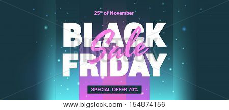 Black Friday sale in the style of 80 s. Banner super sale store. Vector banner for Black Friday.