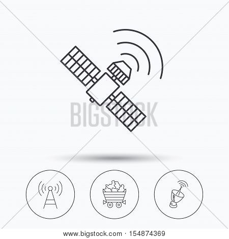 Telecommunication, minerals and antenna icons. GPS satellite linear sign. Linear icons in circle buttons. Flat web symbols. Vector