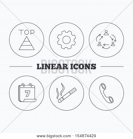 Teamwork, smoking and phone call icons. Top linear sign. Flat cogwheel and calendar symbols. Linear icons in circle buttons. Vector