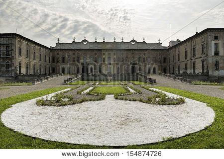 CASTELLAZZO DI BOLLATE, ITALY - JUNE 25, 2016: Castellazzo di Bollate (Milan Lombardy Italy): Villa Arconati historic palace built in the 17h century. Exterior with garden at summer