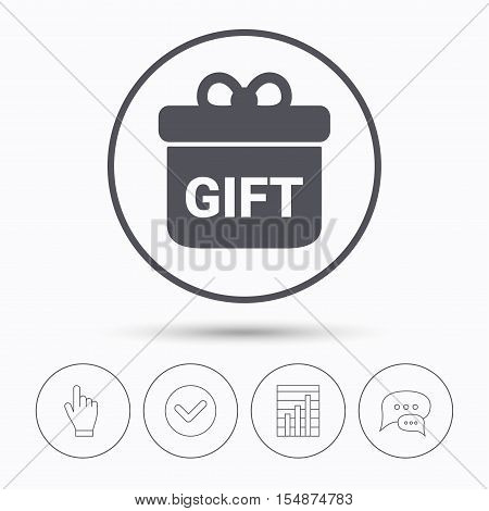Gift icon. Present box with bow symbol. Chat speech bubbles. Check tick, report chart and hand click. Linear icons. Vector