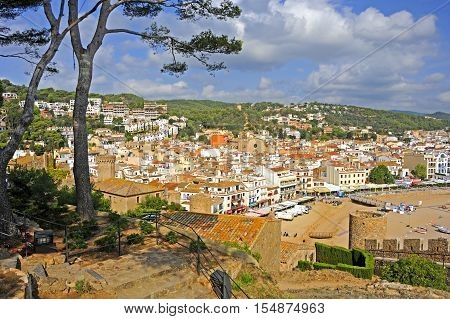 View of the medieval walled town Vila Vella  in Tossa de Mar, Spain