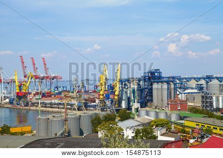 Sea Port In Odessa, Ukraine, 2016. Hoisting Crane And Ship