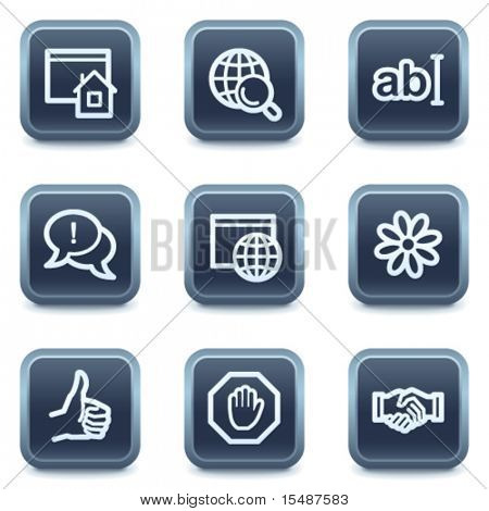 Internet web icons, mineral square buttons series