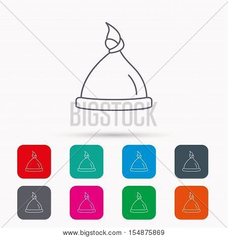 Baby hat icon. Newborn cap sign. Toddler sleeping clothes symbol. Linear icons in squares on white background. Flat web symbols. Vector