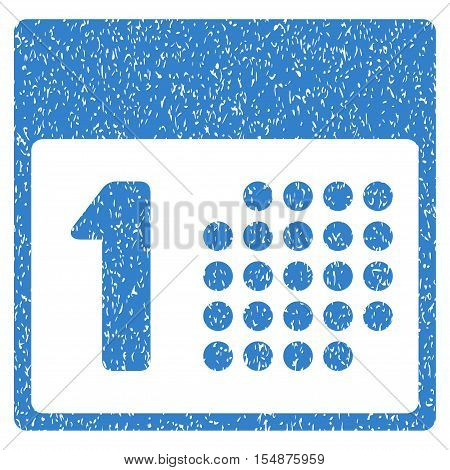 First Day grainy textured icon for overlay watermark stamps. Flat symbol with dirty texture. Dotted vector cobalt ink rubber seal stamp with grunge design on a white background.