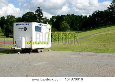 WINDERMERE, UK - JUNE 20, 2016: A St. John Ambulance, mobile First Aid Unit, Windermere, Cumbria, UK