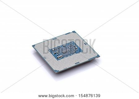Back side of a CPU with connectors and chips isolated on white