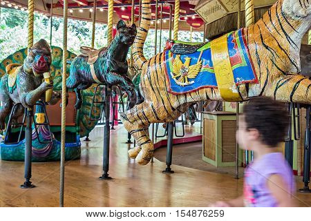 colorful carousel ready to take children for a ride