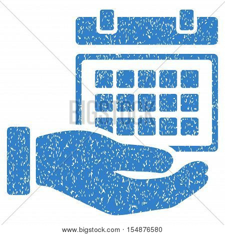 Service Timetable Hand grainy textured icon for overlay watermark stamps. Flat symbol with dust texture. Dotted vector cobalt ink rubber seal stamp with grunge design on a white background.
