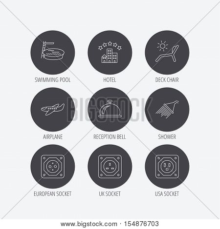 Hotel, swimming pool and beach deck chair icons. Reception bell, shower and airplane linear signs. European, UK and USA socket icons. Linear icons in circle buttons. Flat web symbols. Vector
