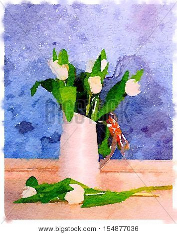 White tulips arranged in a white jug with raffia on the handle with a blue textured background with space for text.