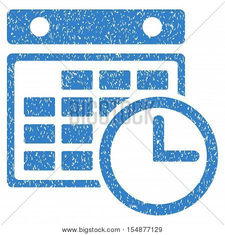 Timetable grainy textured icon for overlay watermark stamps. Flat symbol with dust texture. Dotted vector cobalt ink rubber seal stamp with grunge design on a white background.
