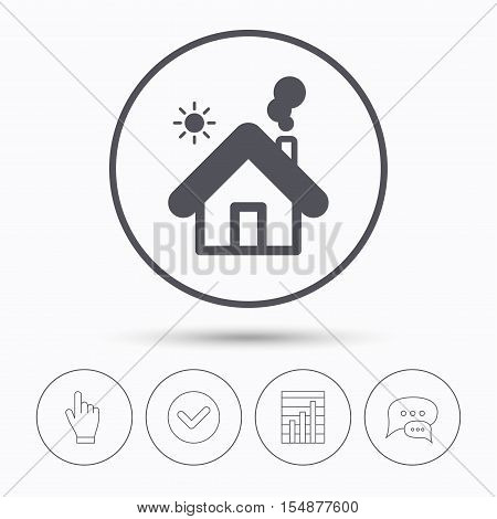 Home icon. House building symbol. Real estate construction. Chat speech bubbles. Check tick, report chart and hand click. Linear icons. Vector