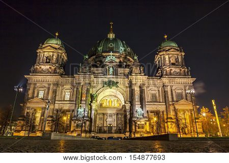 Berlin Cathedral (Berliner Dom) at night. Berlin Germany. It is located on Museum Island in the Mitte borough. The current building was finished in 1905