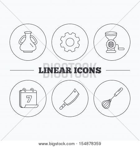 Meat grinder, butcher knife and whisk icons. Vase linear sign. Flat cogwheel and calendar symbols. Linear icons in circle buttons. Vector