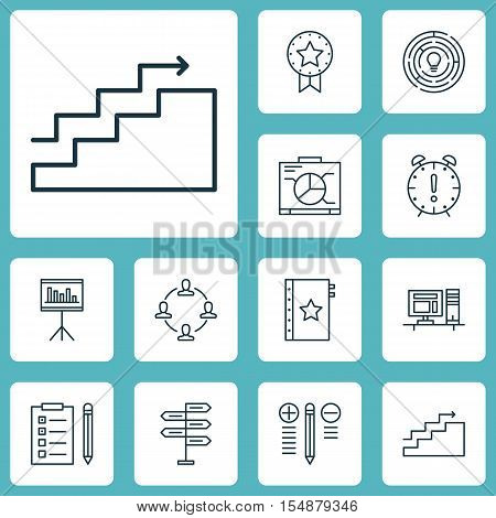 Set Of Project Management Icons On Growth, Decision Making And Warranty Topics. Editable Vector Illu