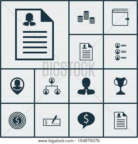 Set Of Management Icons On Tree Structure, Job Applicants And Female Application Topics. Editable Ve