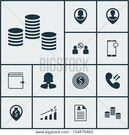 Set Of Hr Icons On Successful Investment, Business Woman And Cellular Data Topics. Editable Vector I
