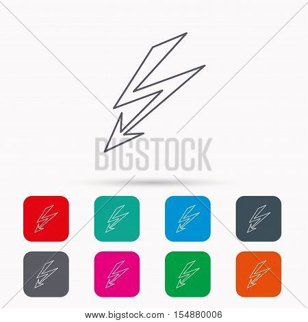 Lightening bolt icon. Power supply sign. Electricity symbol. Linear icons in squares on white background. Flat web symbols. Vector
