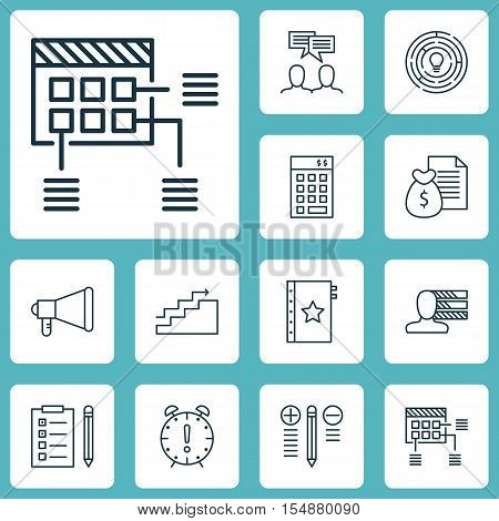 Set Of Project Management Icons On Report, Growth And Personal Skills Topics. Editable Vector Illust