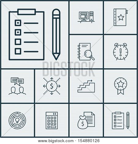 Set Of Project Management Icons On Present Badge, Discussion And Innovation Topics. Editable Vector