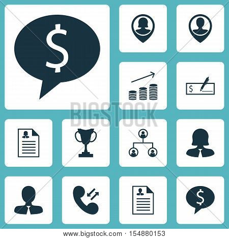 Set Of Hr Icons On Female Application, Tree Structure And Manager Topics. Editable Vector Illustrati