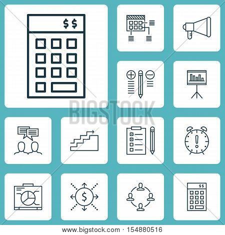Set Of Project Management Icons On Money, Investment And Presentation Topics. Editable Vector Illust