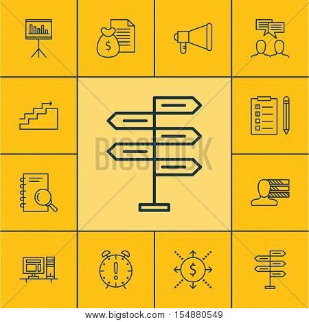 Set Of Project Management Icons On Analysis, Time Management And Computer Topics. Editable Vector Il