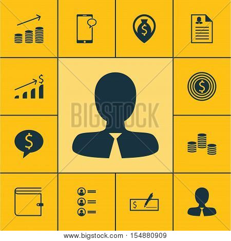 Set Of Hr Icons On Business Deal, Job Applicants And Successful Investment Topics. Editable Vector I