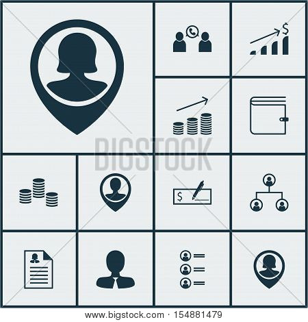 Set Of Management Icons On Job Applicants, Successful Investment And Coins Growth Topics. Editable V