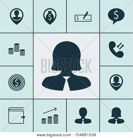Set Of Human Resources Icons On Employee Location, Bank Payment And Manager Topics. Editable Vector