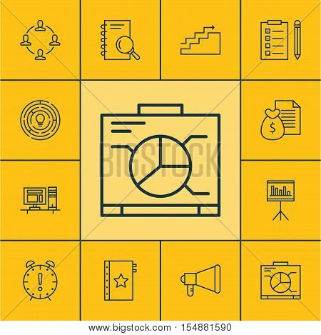 Set Of Project Management Icons On Time Management, Collaboration And Analysis Topics. Editable Vect
