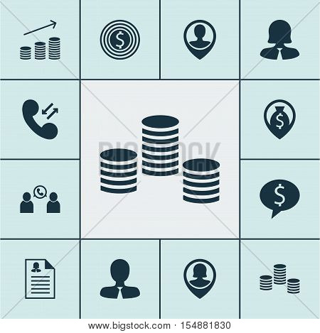 Set Of Human Resources Icons On Pin Employee, Female Application And Coins Growth Topics. Editable V