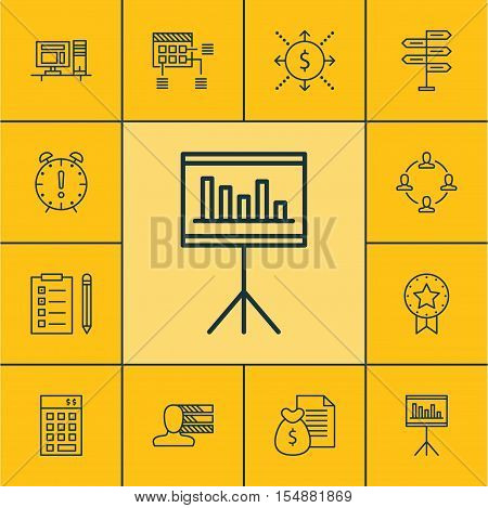Set Of Project Management Icons On Report, Presentation And Reminder Topics. Editable Vector Illustr