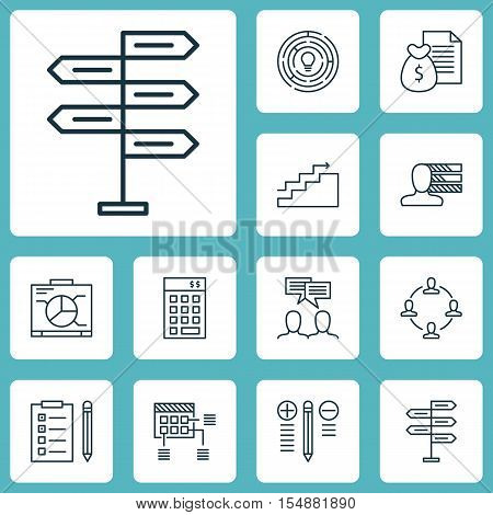 Set Of Project Management Icons On Report, Decision Making And Innovation Topics. Editable Vector Il