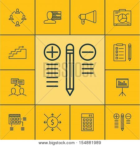 Set Of Project Management Icons On Schedule, Money And Discussion Topics. Editable Vector Illustrati