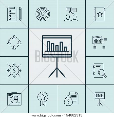 Set Of Project Management Icons On Warranty, Analysis And Reminder Topics. Editable Vector Illustrat