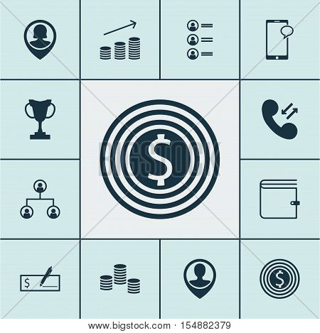 Set Of Human Resources Icons On Employee Location, Tournament And Coins Growth Topics. Editable Vect