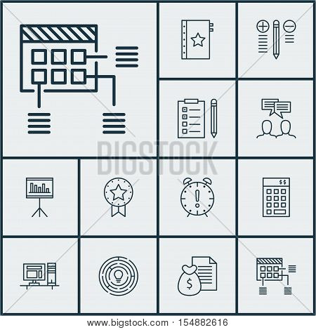 Set Of Project Management Icons On Innovation, Presentation And Report Topics. Editable Vector Illus