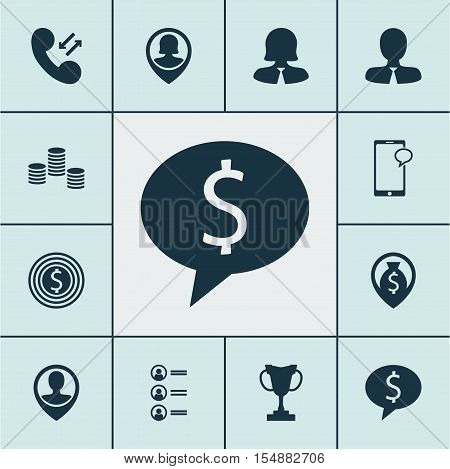 Set Of Human Resources Icons On Tournament, Cellular Data And Business Woman Topics. Editable Vector