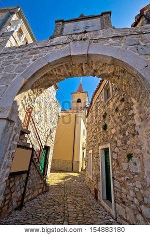 Town of Pirovac historic stone gate vertical view Dalmatia Croatia