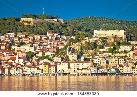 Sibenik UNESCO world heritage town waterfront view Dalmatia Croatia